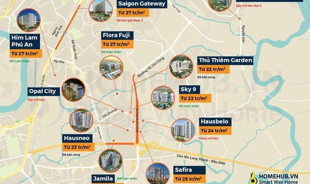 Toàn cảnh giá dự án căn hộ trung cấp Quận 9 xung quanh đường Võ Chí Công, cao tốc Long Thành - Dầu Giây