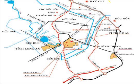 Bản đồ Dự án quy hoạch huyện Đức Hòa (Long An) đến năm 2020, tầm nhìn năm 2030