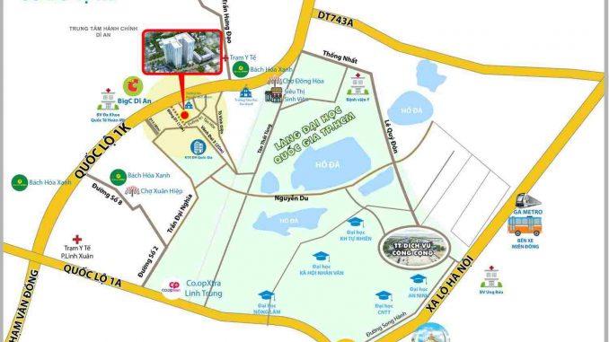 Bcons Green View Làng Đại Học Bình Dương - Vị trí