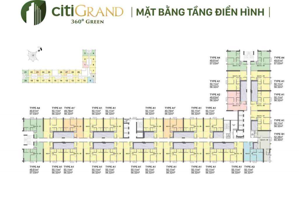 Citi Grand Kiến Á Quận 2 - Mặt bằng dự án