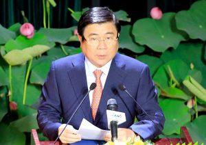 Chủ tịch UBND TP HCM Nguyễn Thành Phong phát biểu tại lễ công bố Nghị quyết 1111 của Uỷ ban Thường vụ Quốc hội sáng 31/12/2020