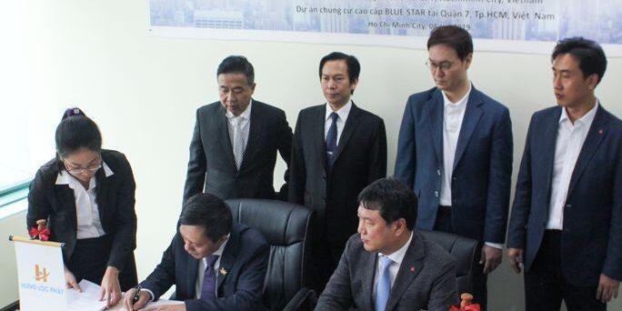 Lễ ký kết giữa Hưng Lộc Phát Corp và công ty Lotte E&C
