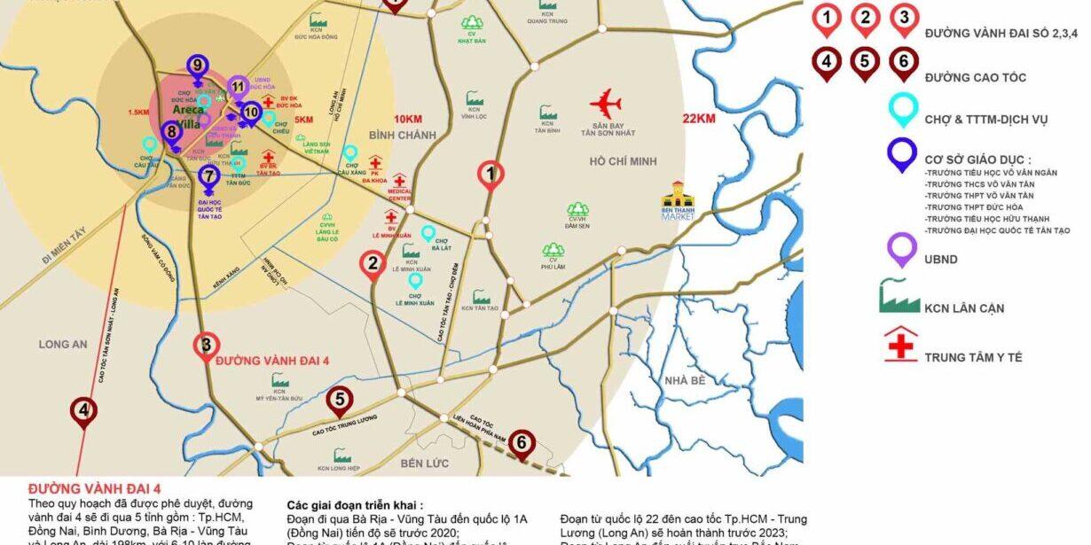 Tọa lạc chiến lược của vị trí Areca Villa Đức Hòa Long An